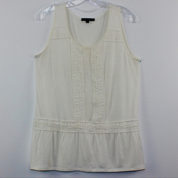 Cable & Gauge Tops - Cable & Gauge Lace Ruffle Boho Tank Top L